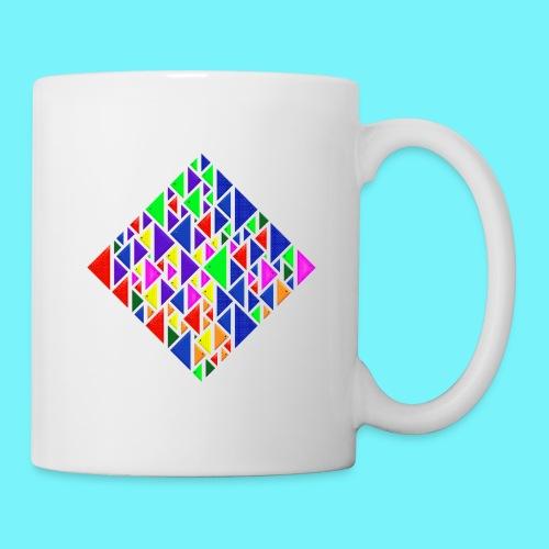 A square school of triangular coloured fish - Mug