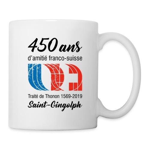 Logo 450 ans d'amitié franco-suisse Saint-Gingolph - Mug blanc