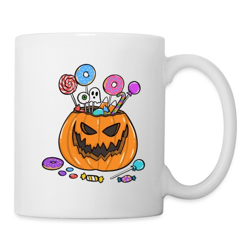 HALLOWEEN PUMPKIN FILLED WITH SWEETS AND DONUTS - Tasse