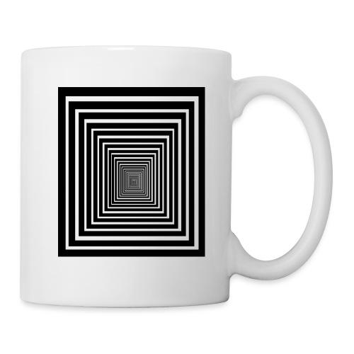 effet d'optique tunnel pyramide carrés noir blanc - Mug blanc