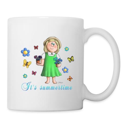 Summertime - Blumen Mädchen Schmetterling - Tasse