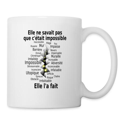 Impossible et fait Femme brèche Fond Clair - Mug blanc