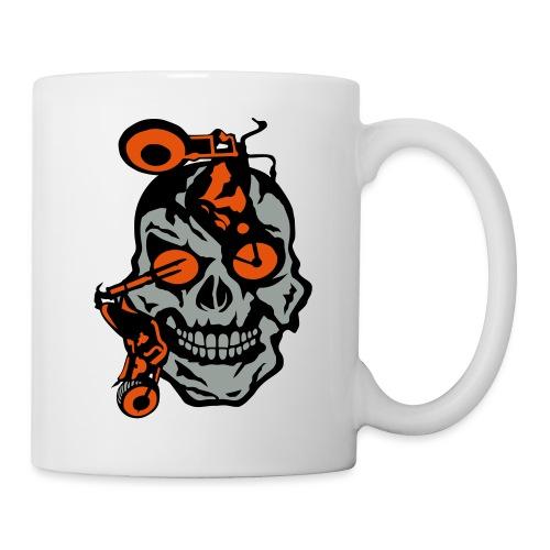 tete mort moto motrocycle oeil skull - Mug blanc
