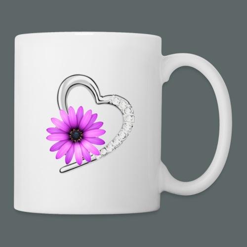Schmuckherz mit Blume - Tasse