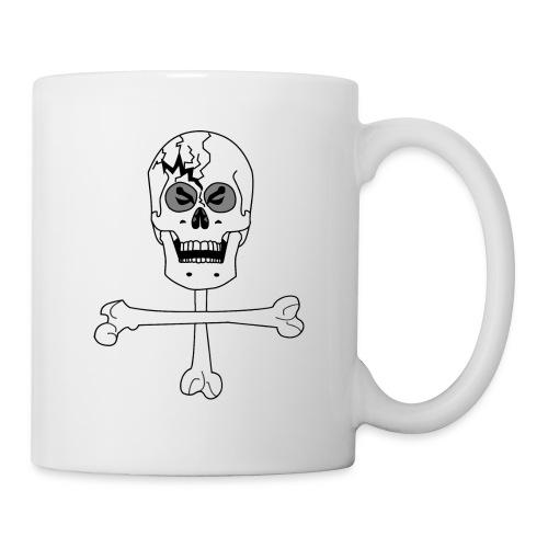 Crâne et croix d'os …Halloween fais moi peur FS FC - Mug blanc