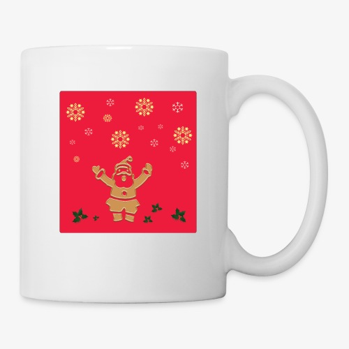 Santa Claus on a red background and snowflake - Mug