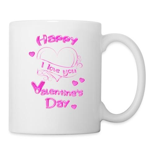 Happy Valentines Day Valentinstag in pink - Tasse