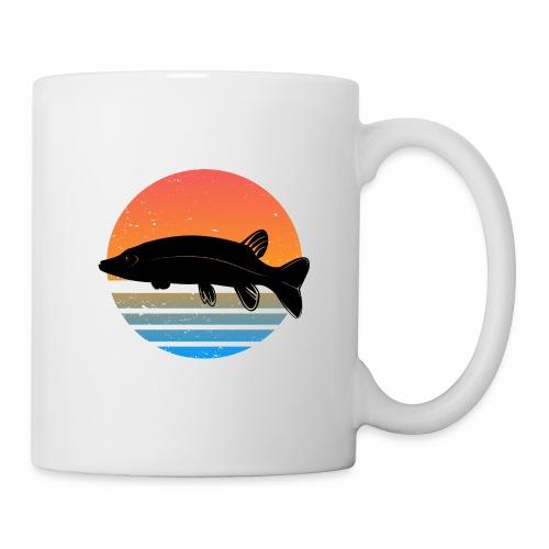 Retro Hecht Angeln Fisch Wurm Angler Raubfisch - Tasse