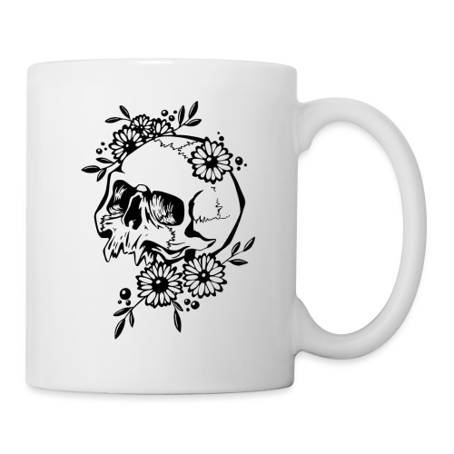 Skull and Flowers - Mugg