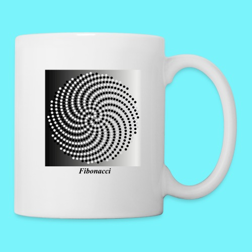 Fibonacci spiral pattern in black and white - Mug