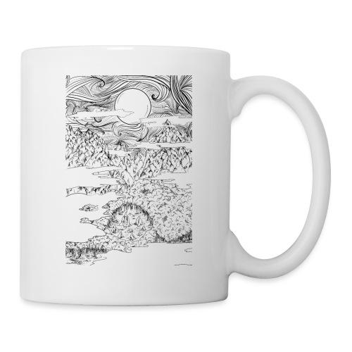 doodle montagna, disegno scena naturale notturna - Tazza
