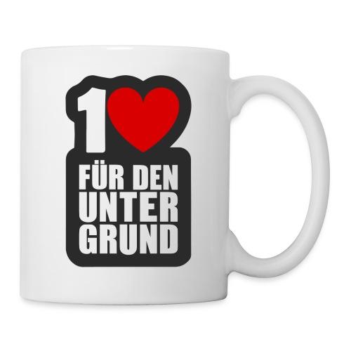 1 Herz für den Untergrund - Logo grau - Tasse