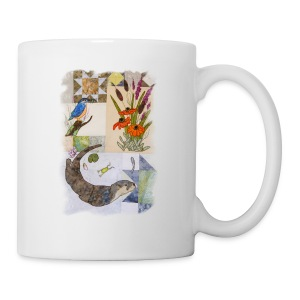 Otter and King Fisher in Grey Design - Mug