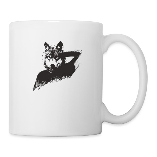 illustration zoom loup noir - Mug blanc