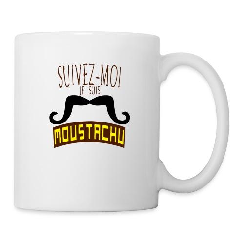 citation moustache suivez moi moustachu - Mug blanc