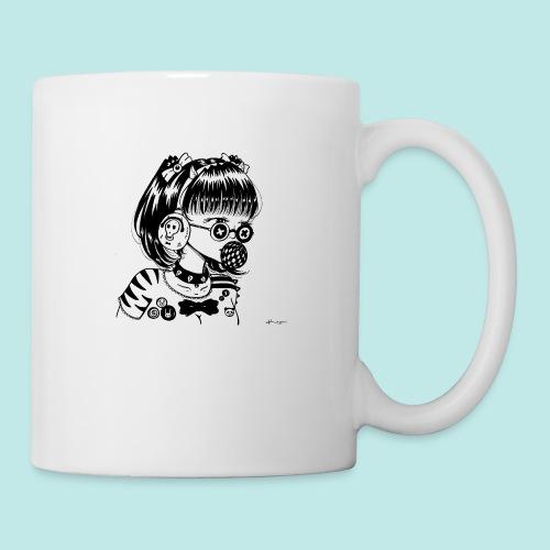 Fille manga casque musique lunettes rock - Mug blanc