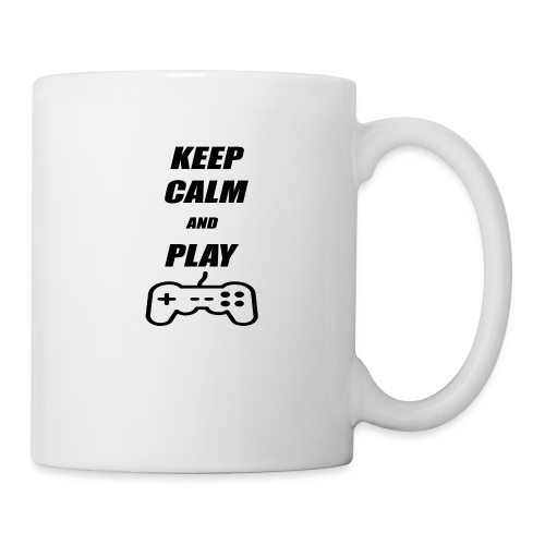 Maglietta Keep Calm And Play bianca. - Tazza