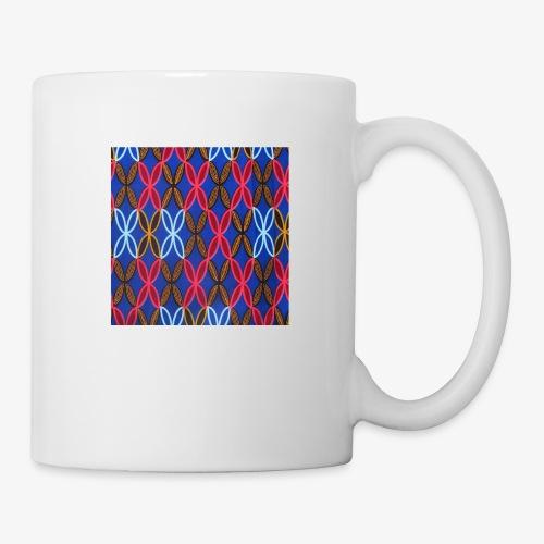 Design motifs bleu rose orange marron - Mug blanc