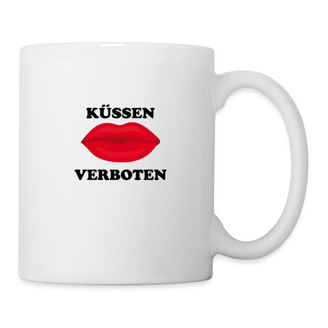 Küssen verboten Kussmund Mundschutz Maske Mund Rot