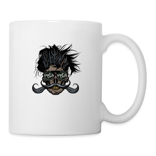 hipster skull tete de mort crane barbu moustache - Mug blanc