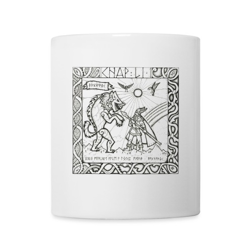 Le Dieu Odin contre le loup Fenrir - Mug blanc