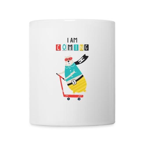 super héro ours sur patinette - Mug blanc