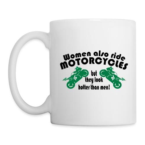 Frauen sehen geiler aus auf Motorrad, sexy bikerin - Tasse