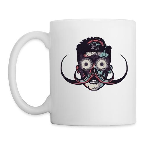 hipster tete de mort crane barbu skull moustache b - Mug blanc
