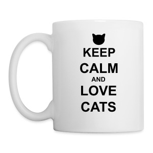 Keep Calm and Love Cats - Black - Mug