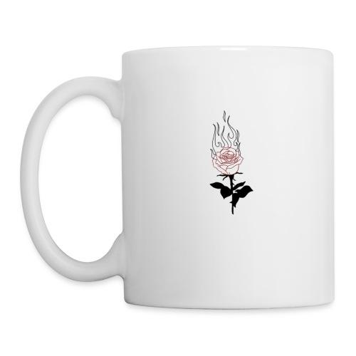rose enflammée - Mug blanc