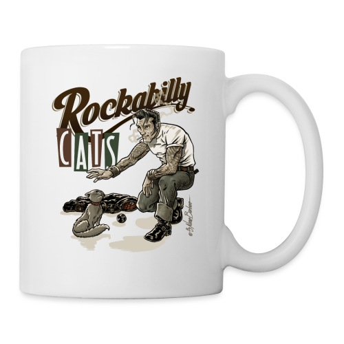 rockabilly cat color - Taza