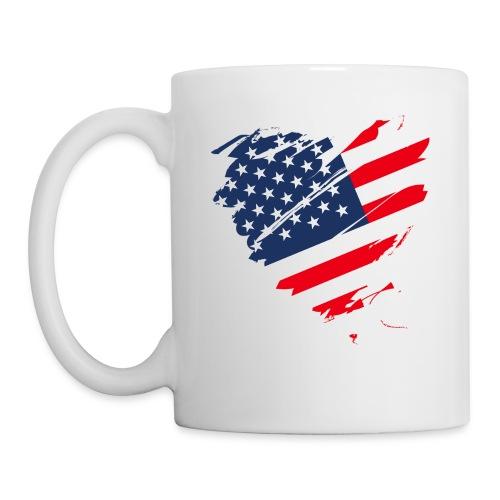 USA Amerika Sterne und Streifen Herz Grunge Flagge - Mug