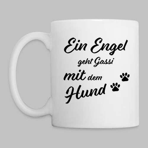 Ein Engel geht Gassi mit dem Hund - V2 - White - Tasse