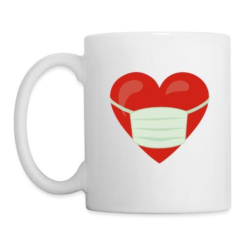 Herz mit Mundschutz - Tasse