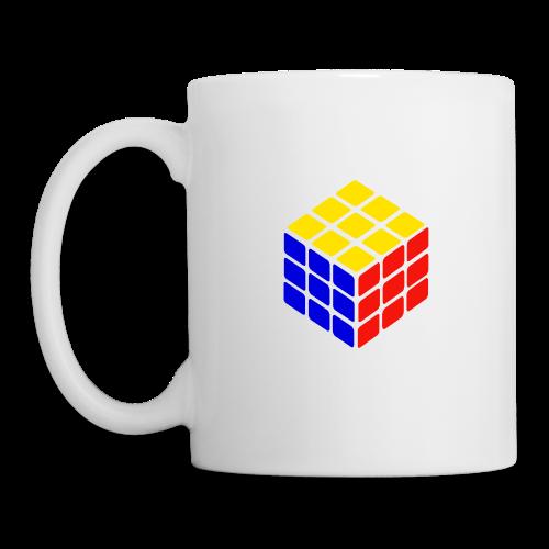 blue yellow red rubik's cube print - Mok