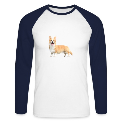 Topi the Corgi - Sideview - Men's Long Sleeve Baseball T-Shirt