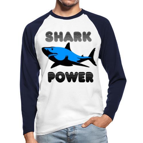 Shark Power Blau - Männer Baseballshirt langarm