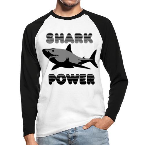Shark Power Schwarz - Männer Baseballshirt langarm