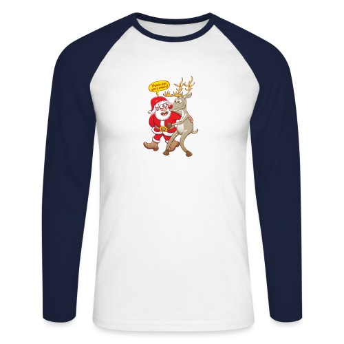 Santa thanks deeply to his red-nosed reindeer - Men's Long Sleeve Baseball T-Shirt