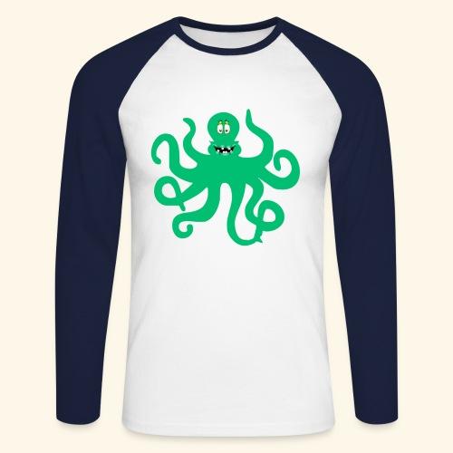 Sea Green Otopus with a goofy smile - Men's Long Sleeve Baseball T-Shirt