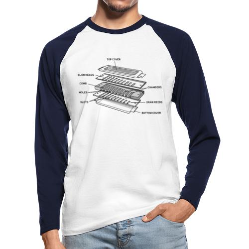 Exploded harmonica - black text - Men's Long Sleeve Baseball T-Shirt