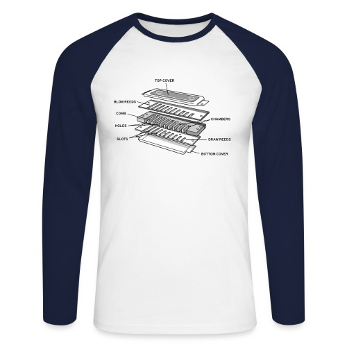 Exploded harmonica - black text - Men's Long Sleeve Baseball T-Shirt
