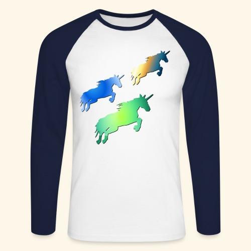 Three lucky mane fairy tale unicorns leaping - Men's Long Sleeve Baseball T-Shirt