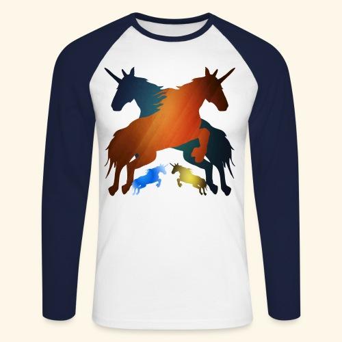 Unicorns 4 lucky mane fairy tale unicorns leaping - Men's Long Sleeve Baseball T-Shirt