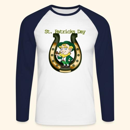 Irish St Patricks Day Lucky Horse Shoe leprechaun - Men's Long Sleeve Baseball T-Shirt