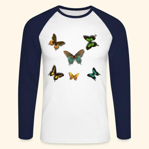 Rain Forest 3D Butterflies of beautiful colour - Men's Long Sleeve Baseball T-Shirt