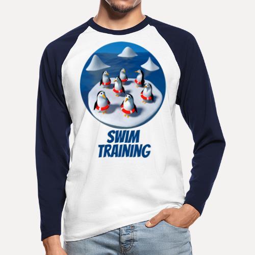 Pinguine beim Schwimmunterricht - Men's Long Sleeve Baseball T-Shirt