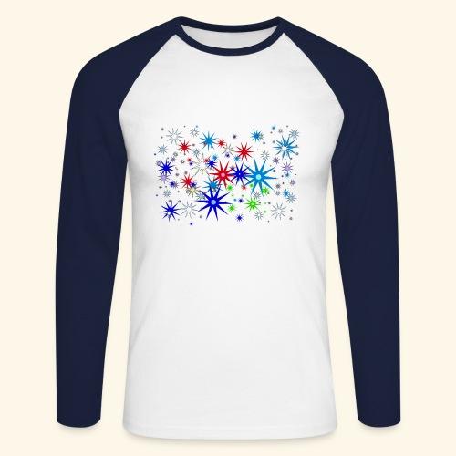 Star Snowflakes falling colourful - Men's Long Sleeve Baseball T-Shirt