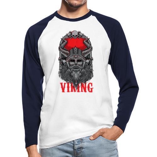 Viking T Shirt Design red - Miesten pitkähihainen baseballpaita