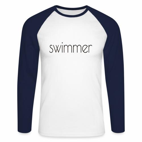 swimmer text - Männer Baseballshirt langarm